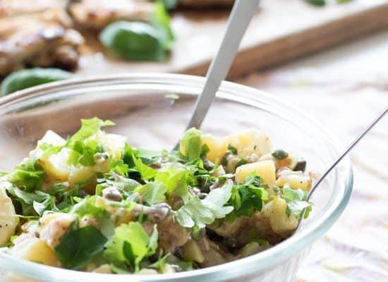 Creamy French Potato Salad with Dijon Mustard Vinaigrette [Vegan]