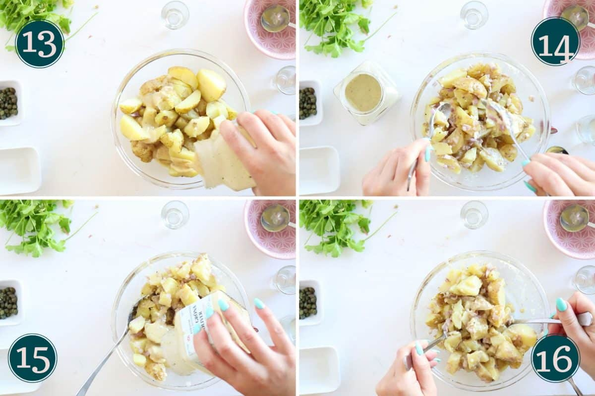 mixing in vinaigrette with potatoes and shallots