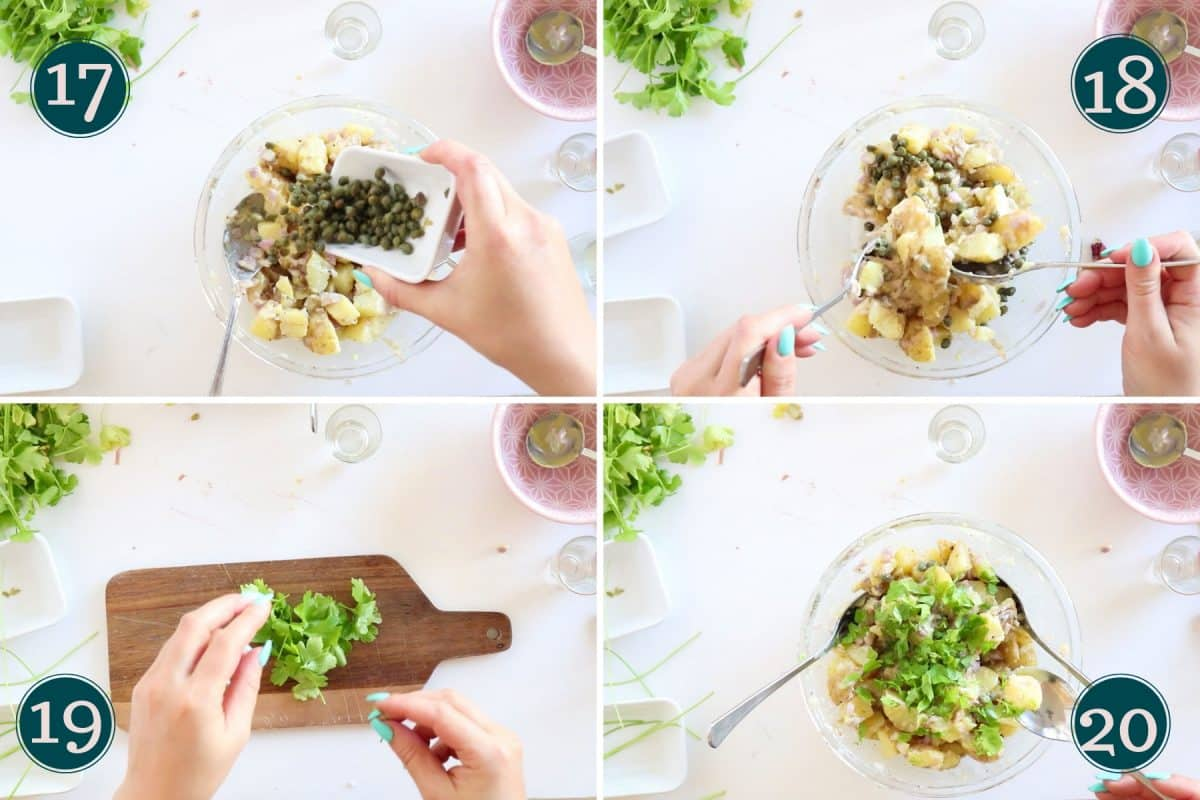 adding capers and parsley to potato salad
