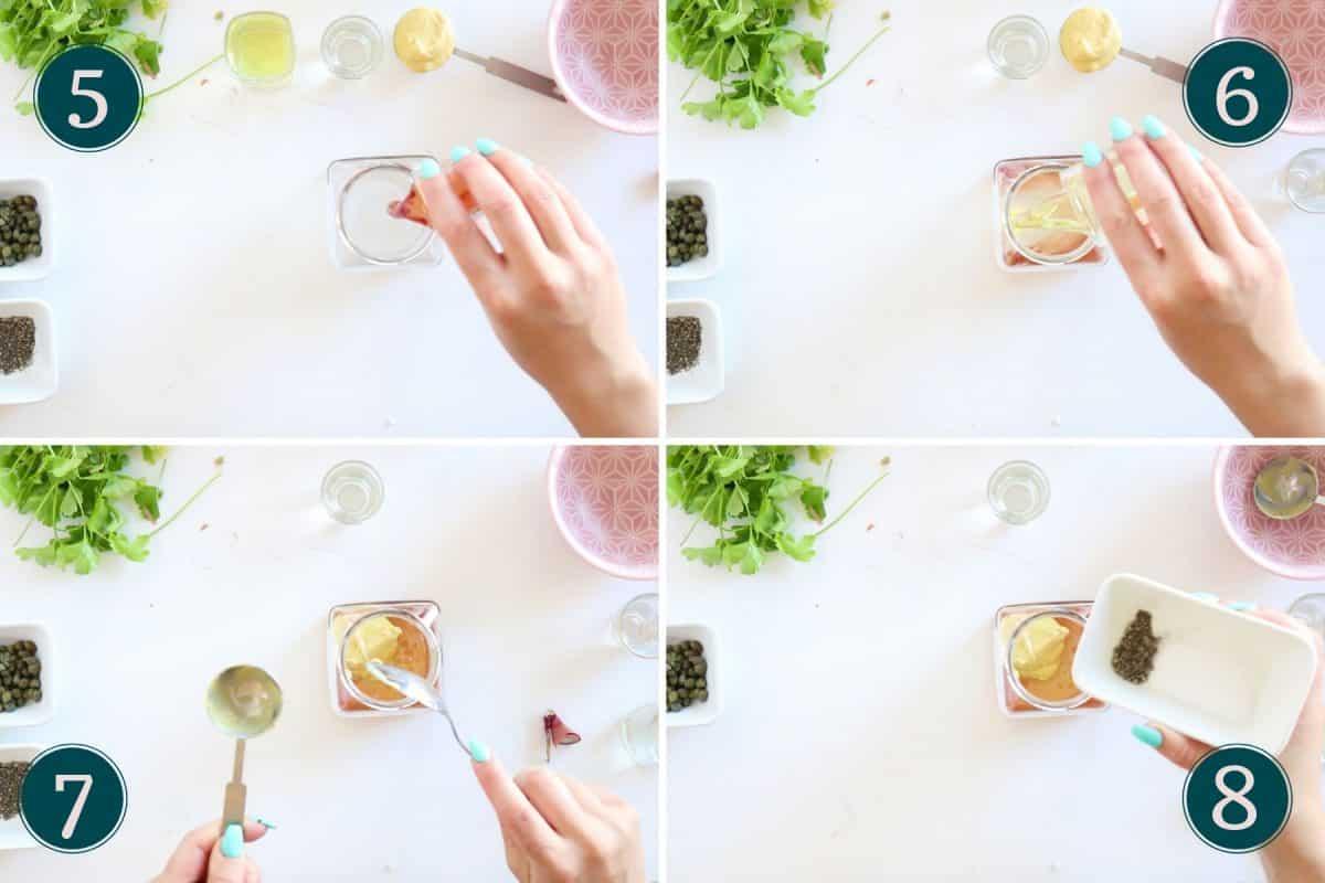 adding ingredients to a glass jar to make dijon vinaigrette