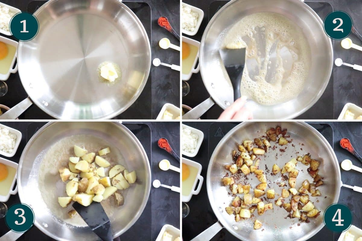 process step 1-4 showing how to fry potatoes