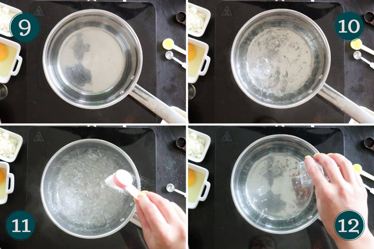 process step 9-12 showing how to prepare water for poaching an egg