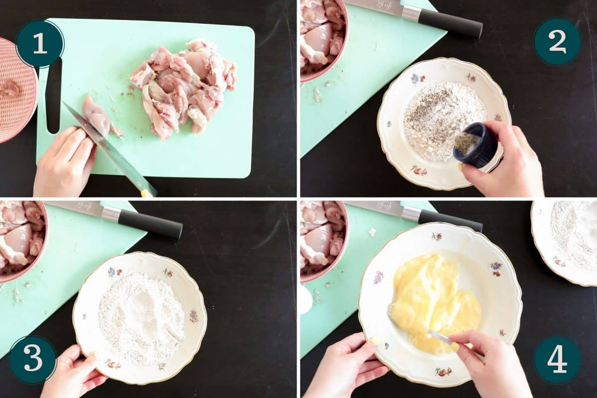 process shots showing how to prepare for breading chicken tenders