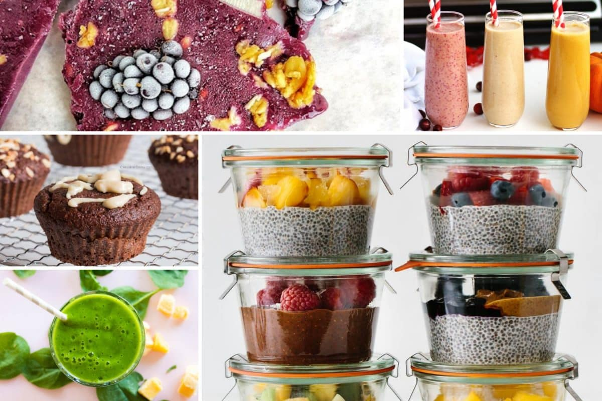 collage of healthy breakfasts to go