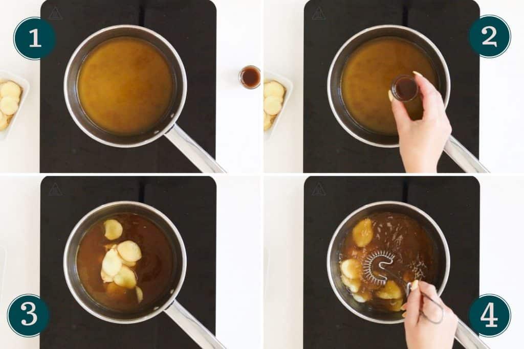 step 1 to 4 of making dashi