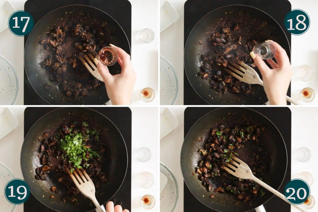 step 17 to 20: seasoning mushrooms part 2