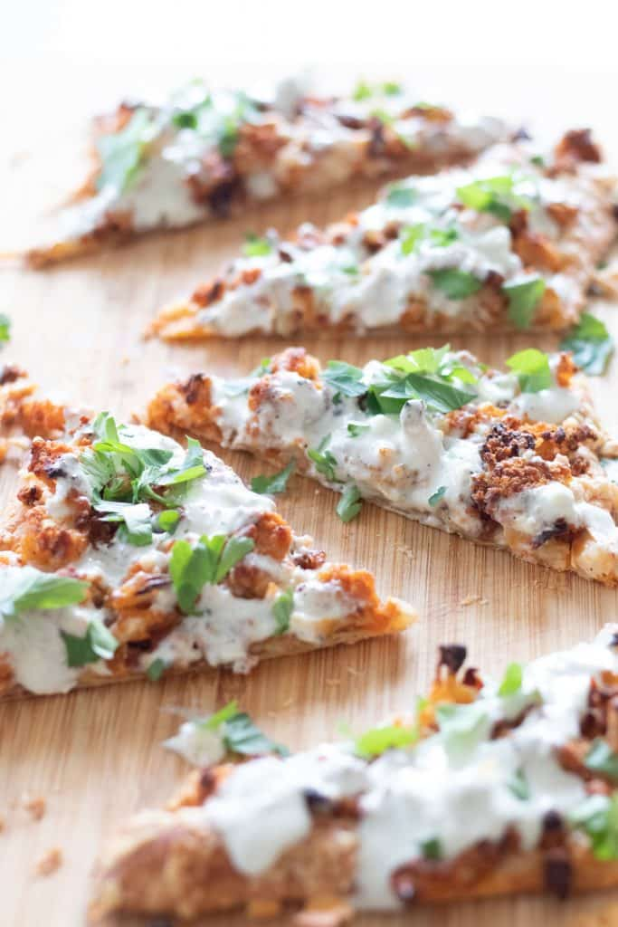 puff pastry pizza with buffalo cauliflower and blue cheese sauce