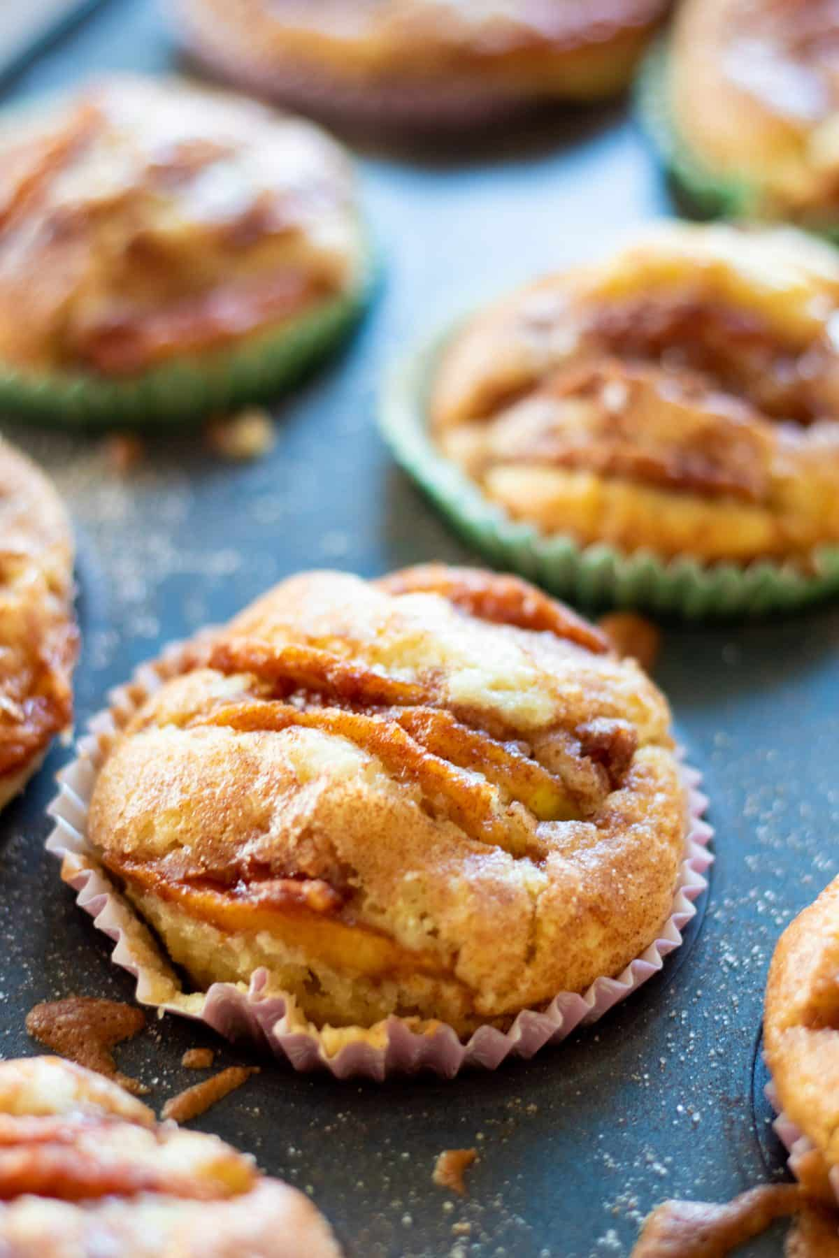 closeup of an apple cinnamon muffin