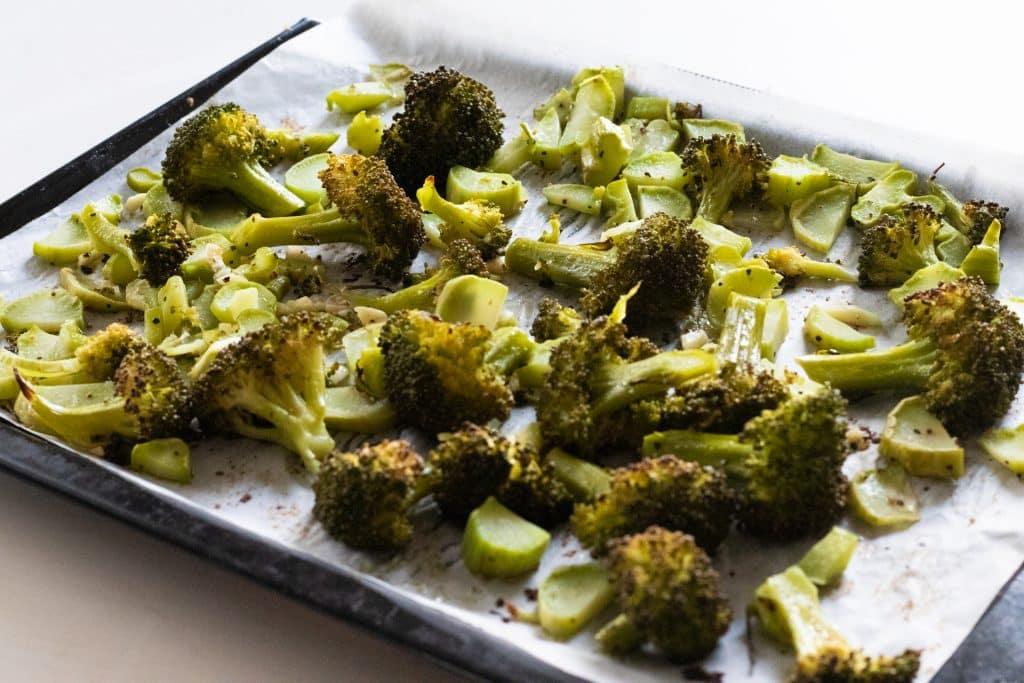 finished garlic roasted broccoli