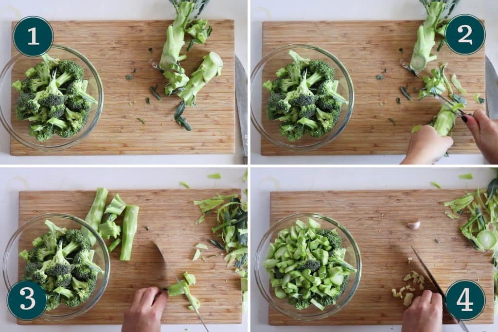 chopping broccoli and peeling and slicing the stem and slicing garlic