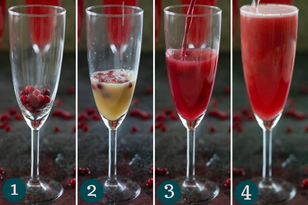 collage showing how to make cranberry ginger ale punch