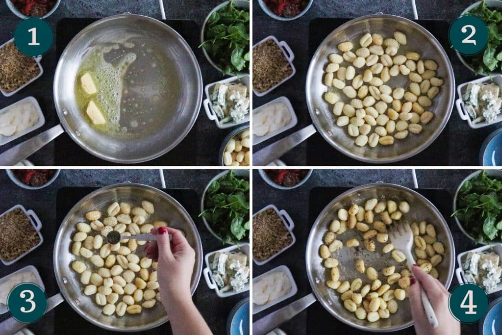 collage showing step 1-4 of cooking creamy gnocchi with gorgonzola, spinach & walnuts