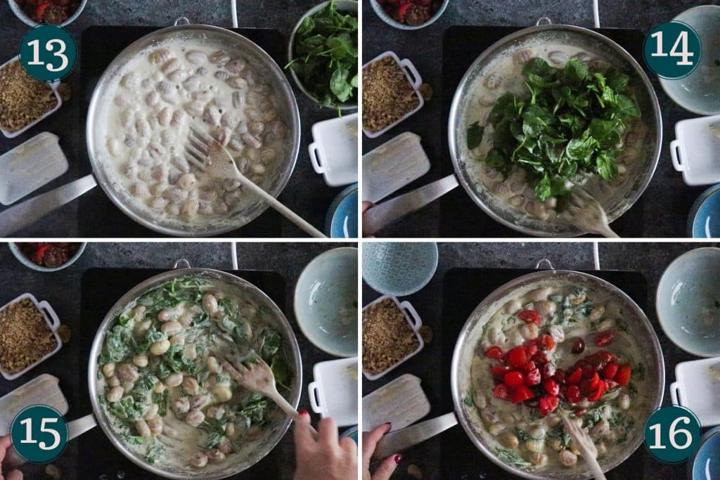 collage showing step 13-16 of cooking creamy gnocchi with gorgonzola, spinach & walnuts