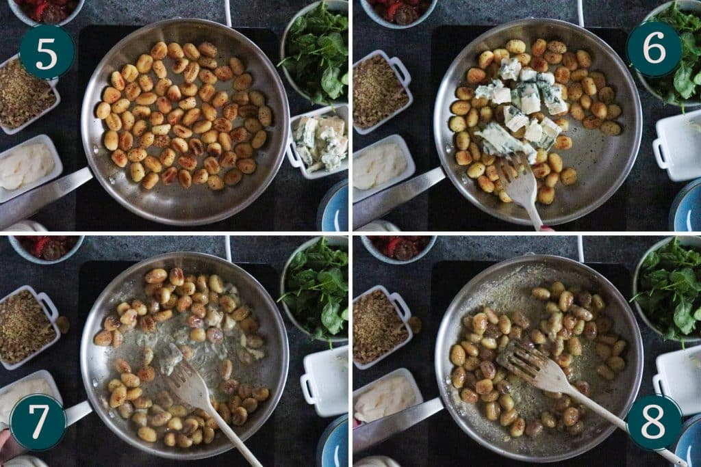 collage showing step 5-8 of cooking creamy gnocchi with gorgonzola, spinach & walnuts