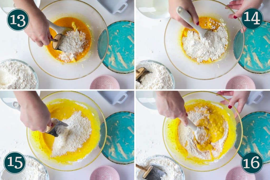 collage showing step 13 to 16 of making Swedish saffron buns