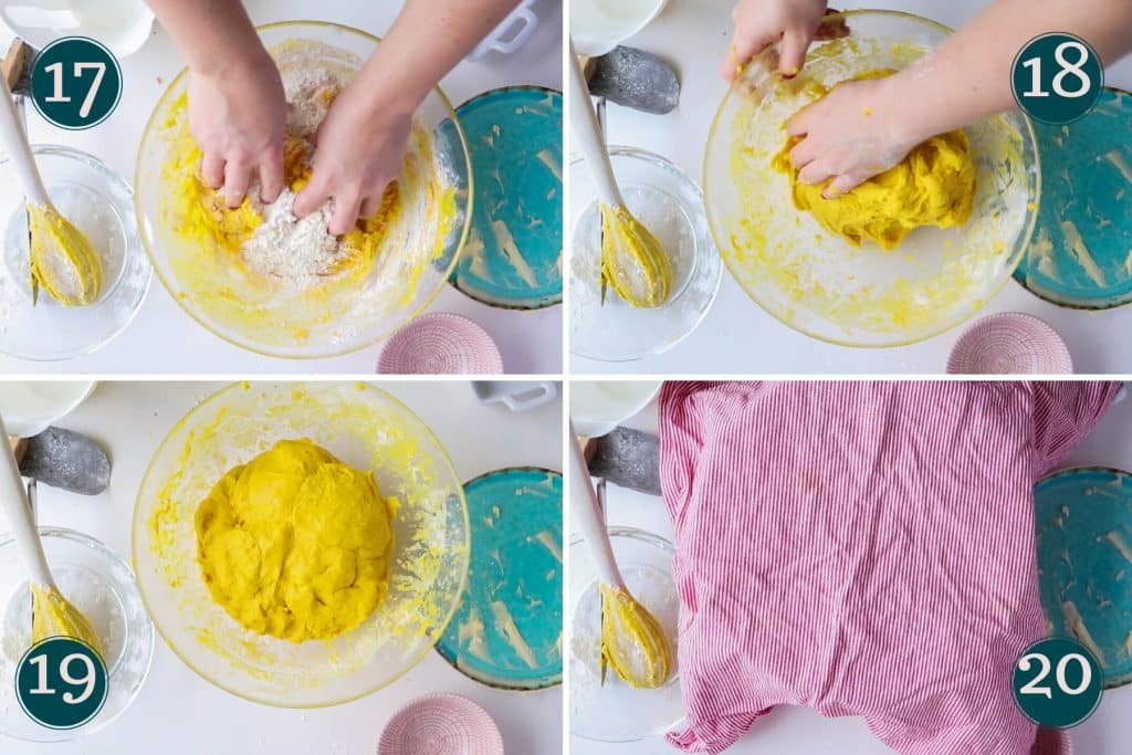 collage showing step 17 to 20 of making lussekatter