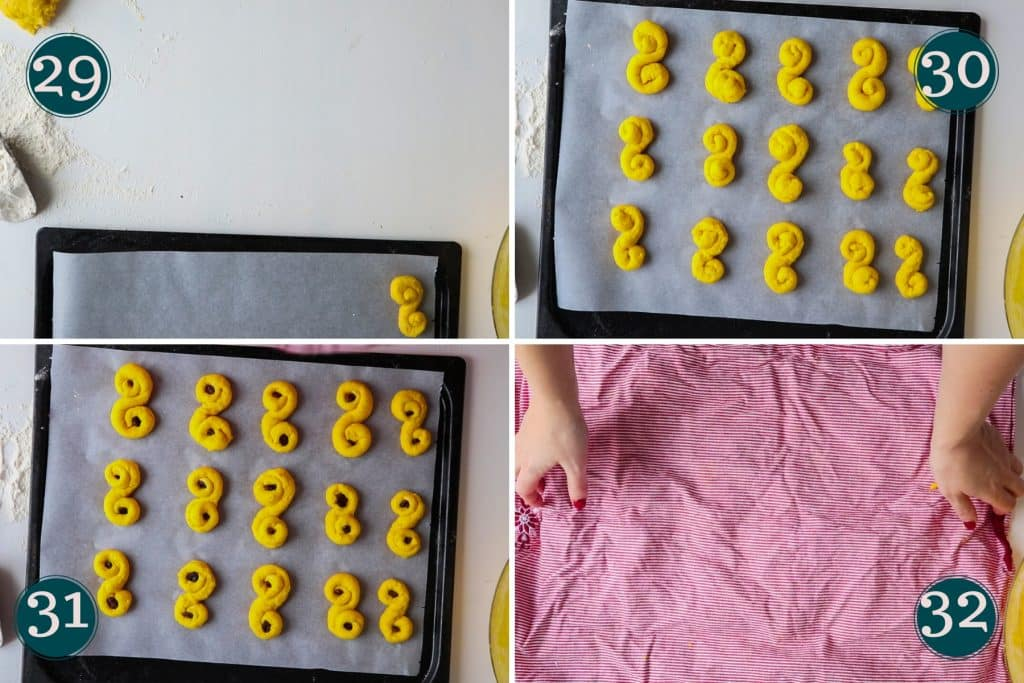 collage showing step 29 to 32 of making lussekatter