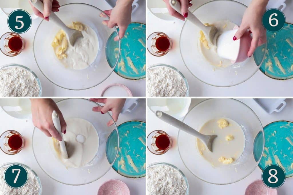 collage showing step 5 to 8 of making Swedish saffron buns