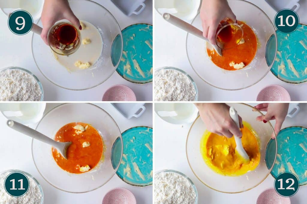collage showing step 9 to 12 of making lussekatter