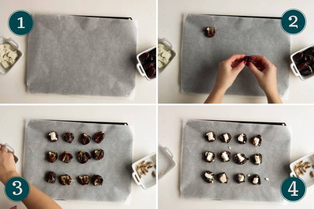 collage showing step 1 to 4 of making stuffed dates with feta cheese