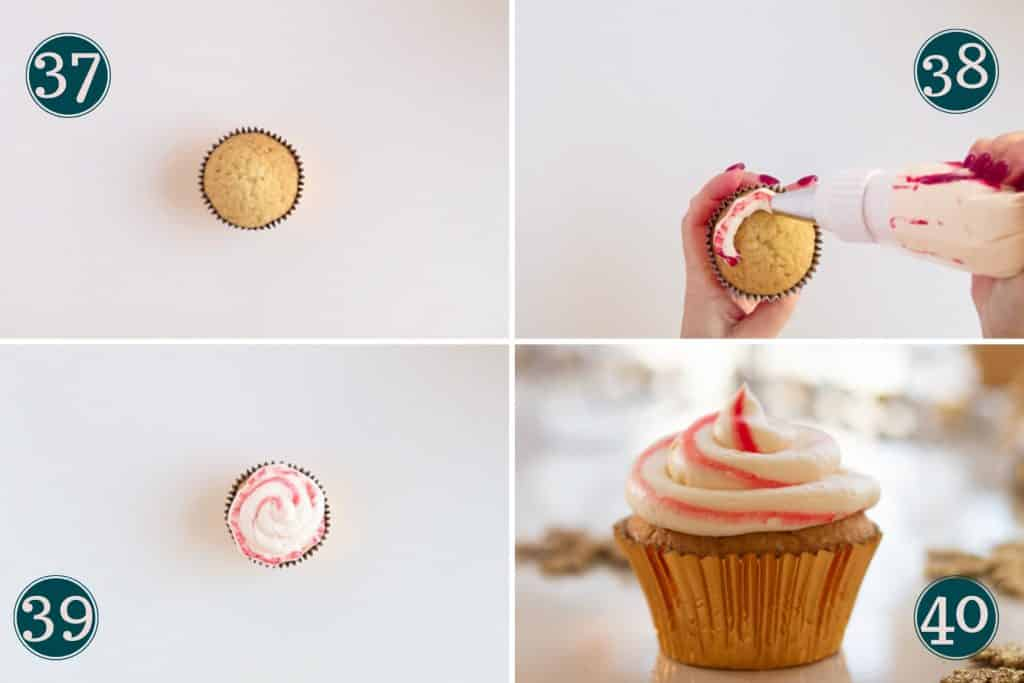 collage showing how to decorate candy cane cupcakes