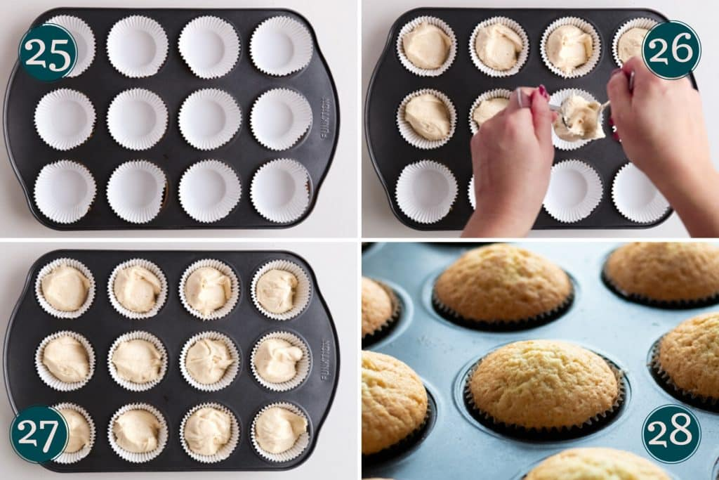 collage showing how to scoop the batter into muffin liners for vanilla muffins
