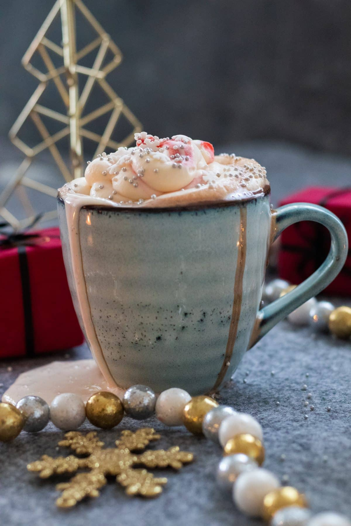side view of christmas hot chocolate