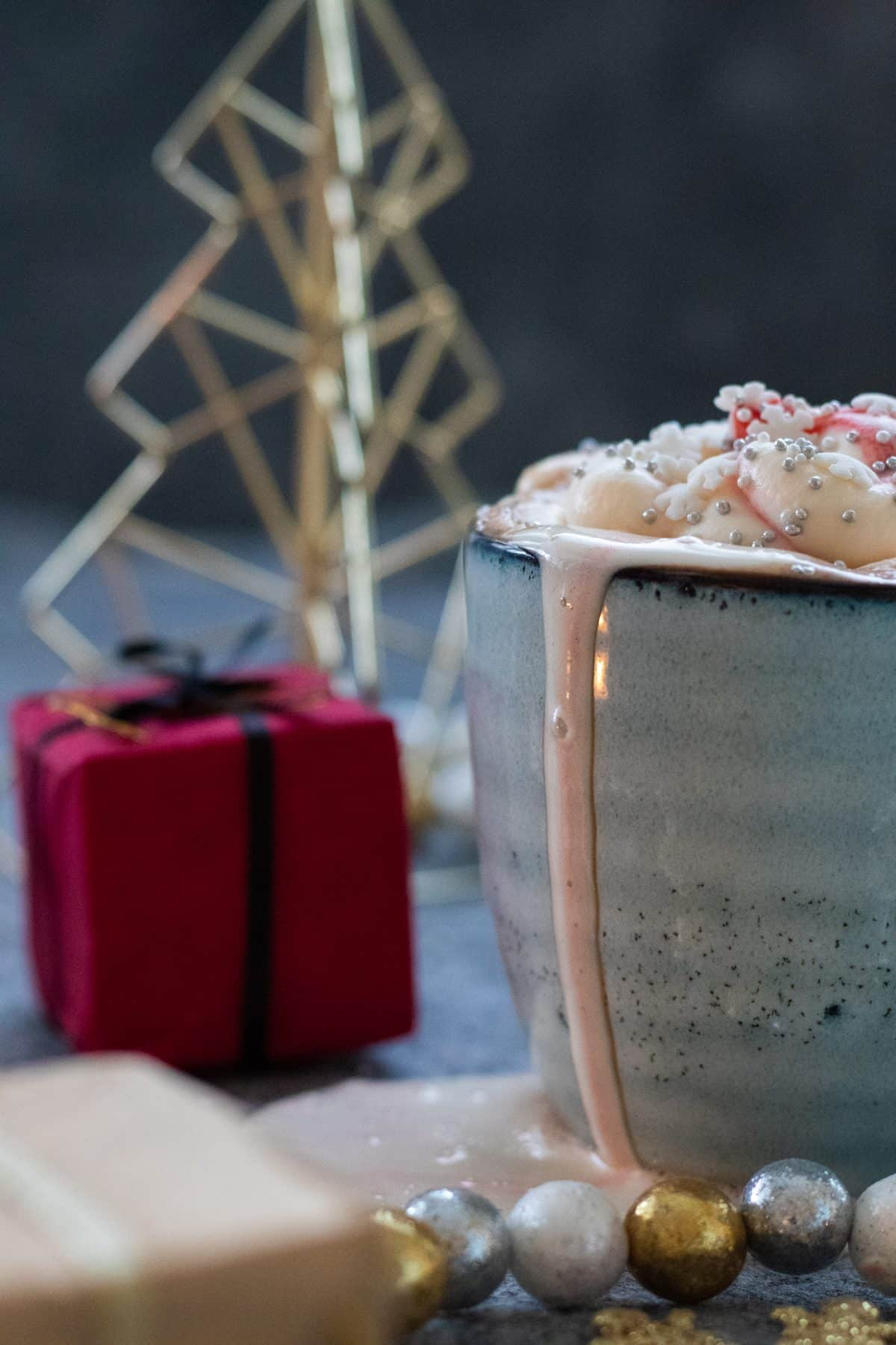 side view of candy cane hot chocolate