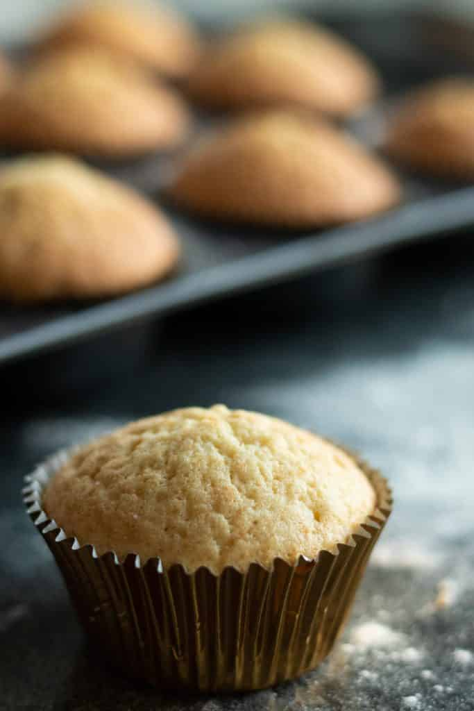 close-up side view of a vanilla muffin