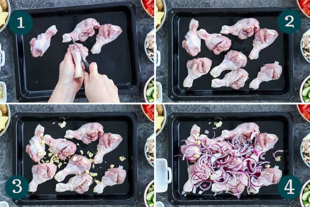 collage showing how to prep chicken drumsticks with garlic and red onion for baking