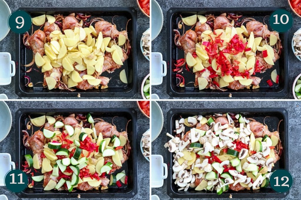 collage showing how to add potatoes, red bell pepper, zucchini and mushrooms to drumsticks before baking