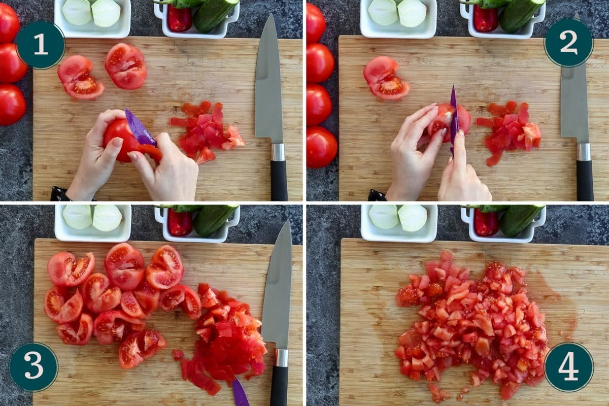 collages showing how to peel and chop tomatoes