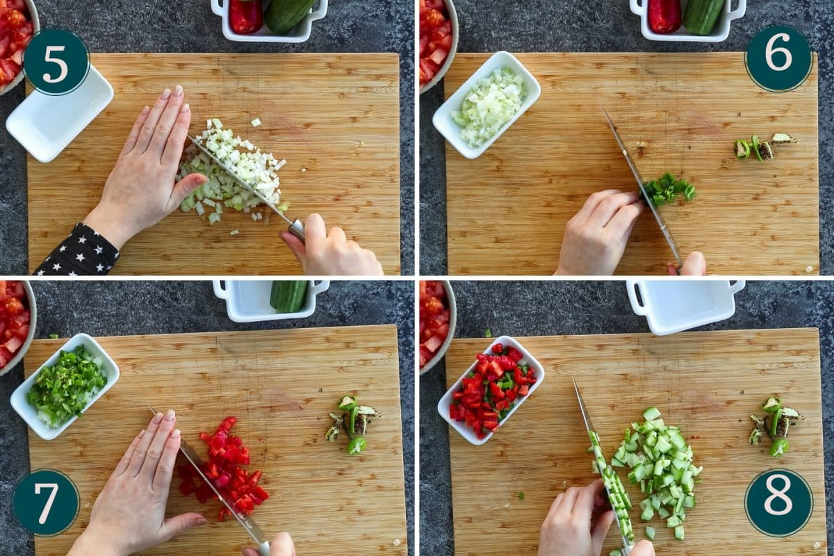 collages showing how to chop onion, padrón peppers, red bell peppers and cucumber