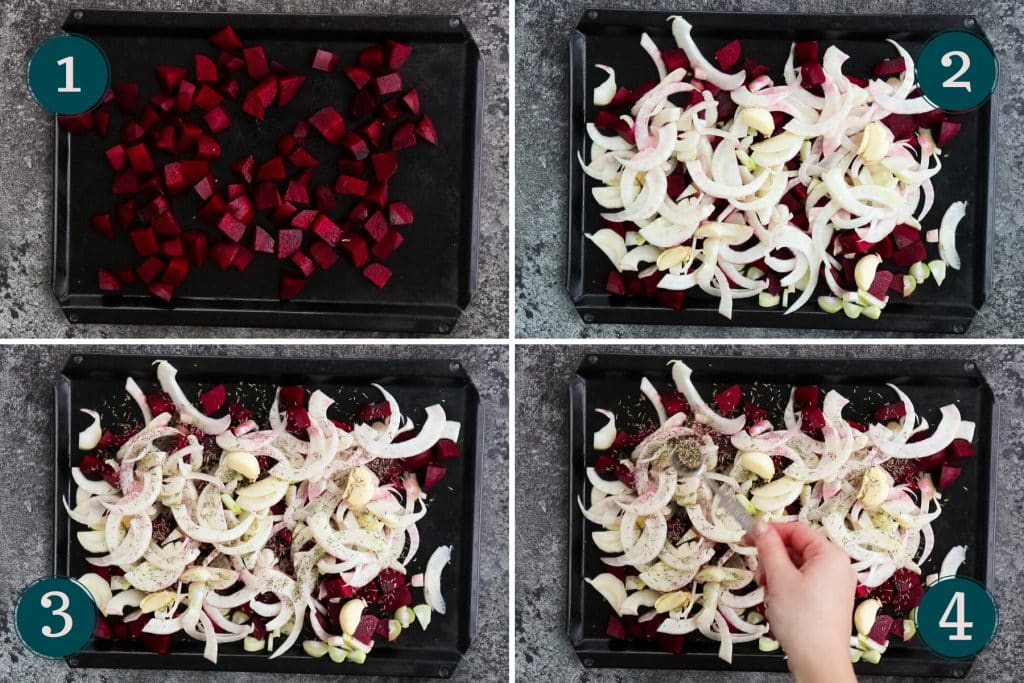 collage showing how to prep beets and fennel for roasting