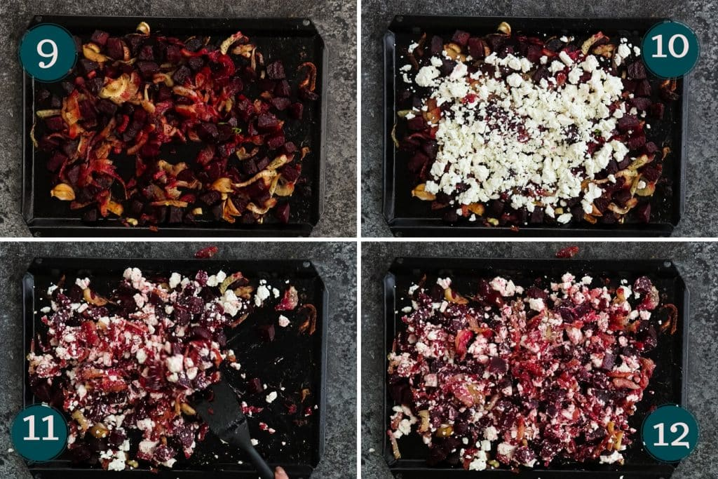 collage showing how to mix roasted beetroots and fennel with feta cheese after roasting
