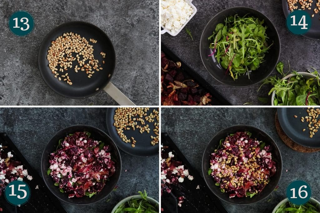 collage showing how to combine ingredients to make a roasted beetroot salad with feta cheese