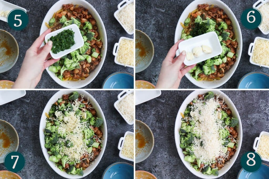 process collage showing how to combine ingredients to make a dump and bake chicken broccoli pasta bake