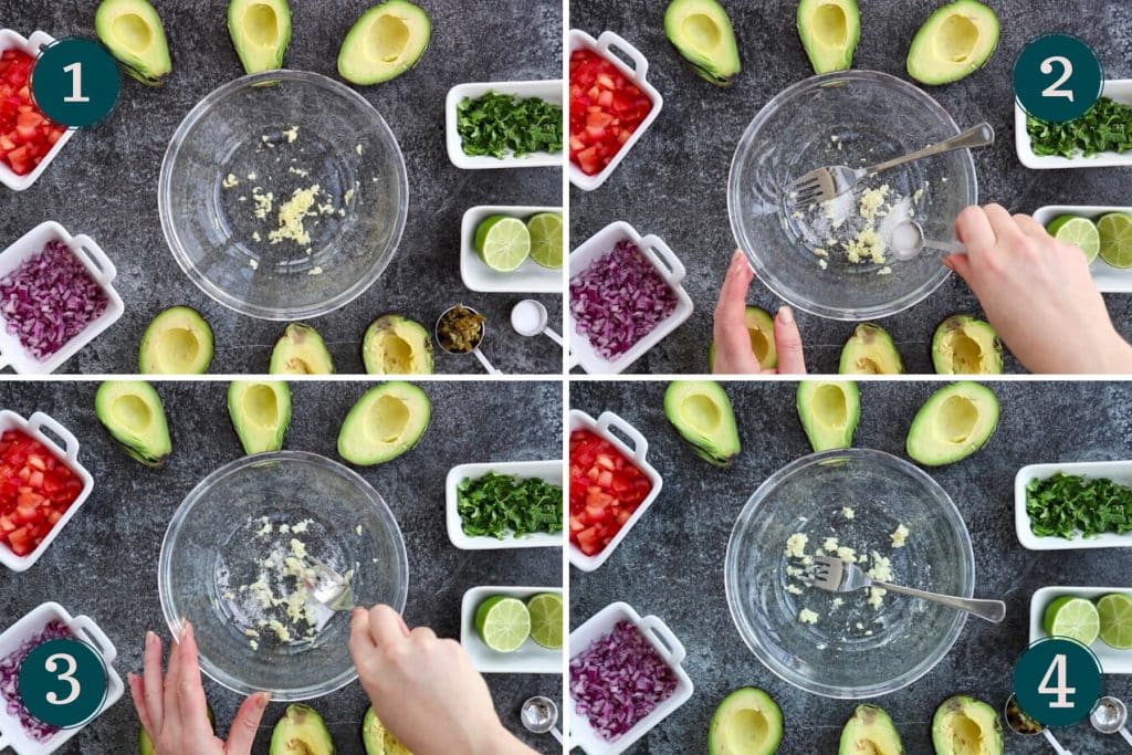 collage showing how to make guacamole (1 out of 4)