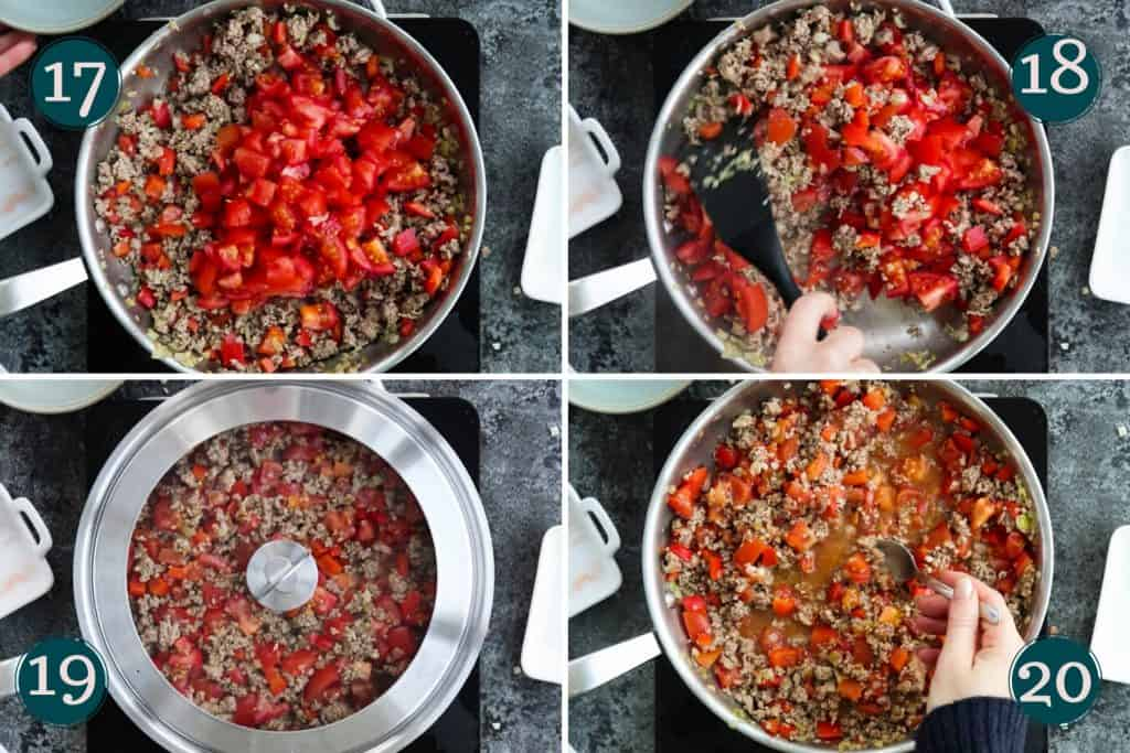 process collage showing how to add tomatoes to fried ground lamb to make sauce before covering and leaving it to simmer