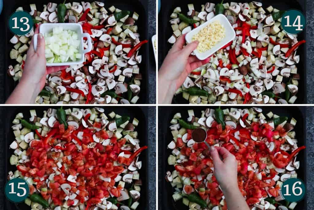 process collage showing how to add onion, garlic, tomatoes and chili powder to an oven pan with veggies