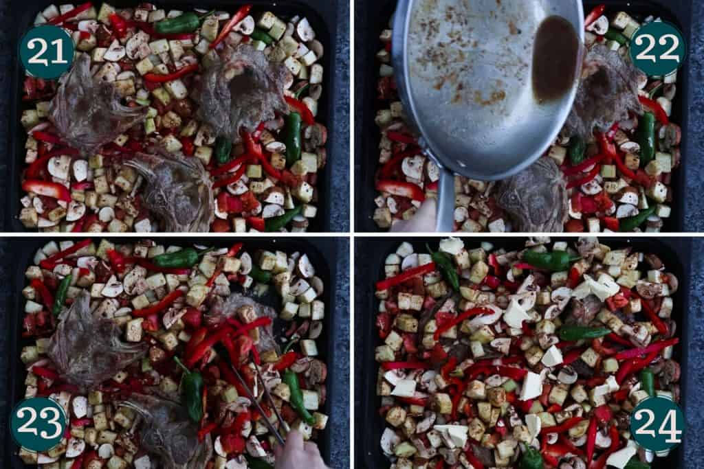 process collage showing how to add seared lamb chops and their juice to a pan of veggies before baking