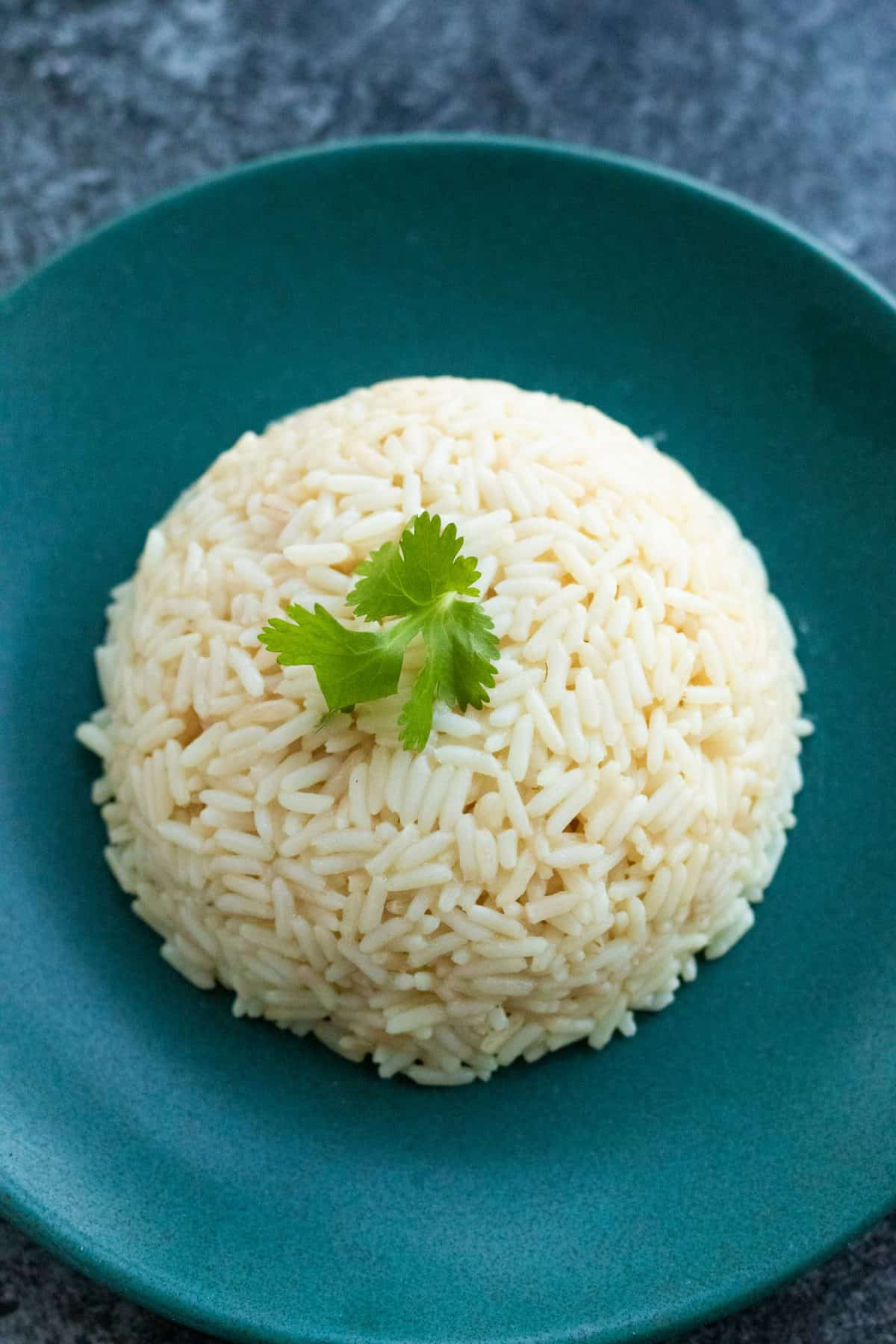 top down view of a mound of rice topped with parsley