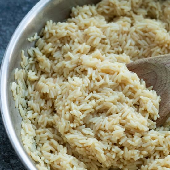 a frying pan full of rice