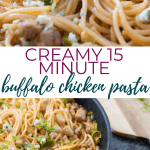 15-MINUTE BUFFALO CHICKEN PASTA - pin image