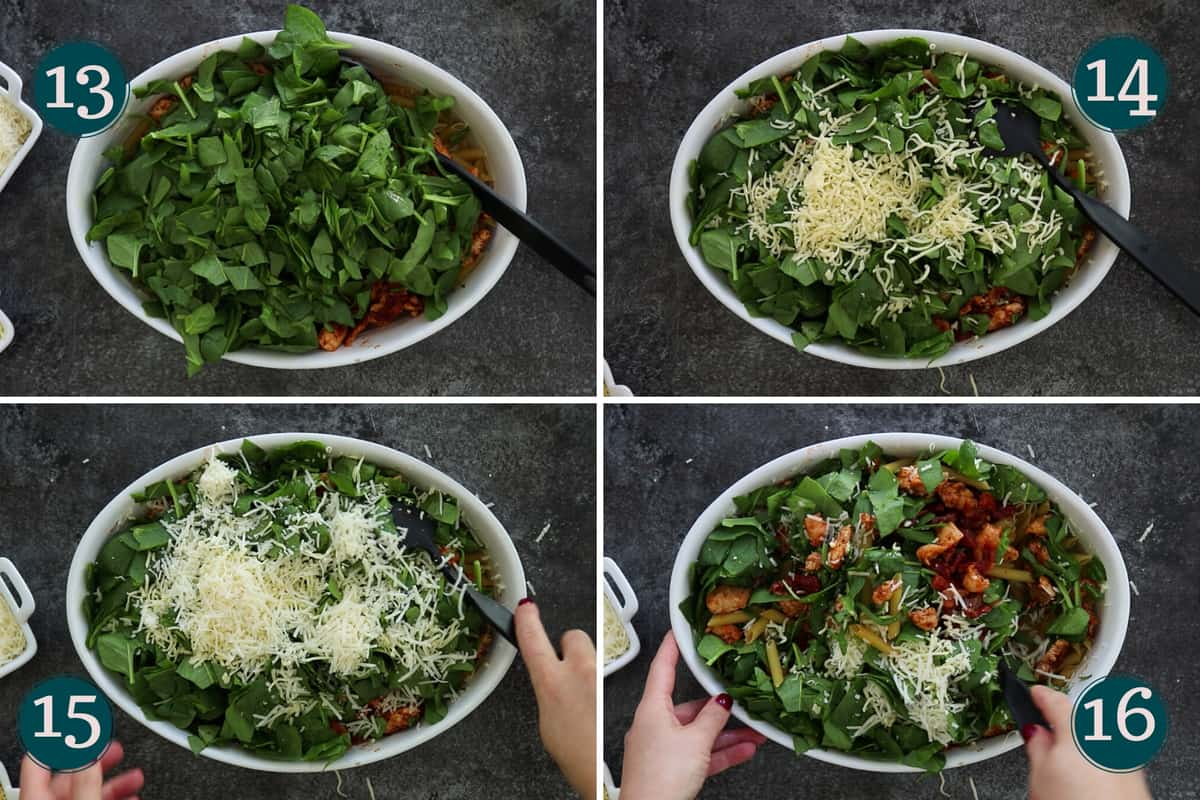collage showing how to add spinach and two types of cheese to a pan before mixing