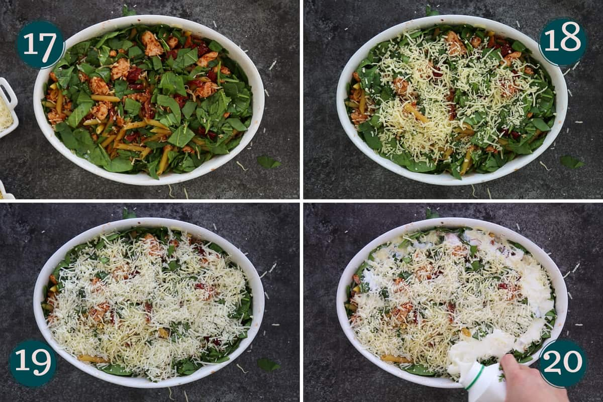 collage showing how to add cheese and cream to a pasta bake