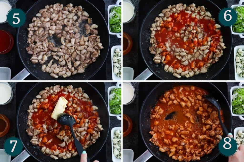 process collage showing how to add hot sauce and butter to fried chicken