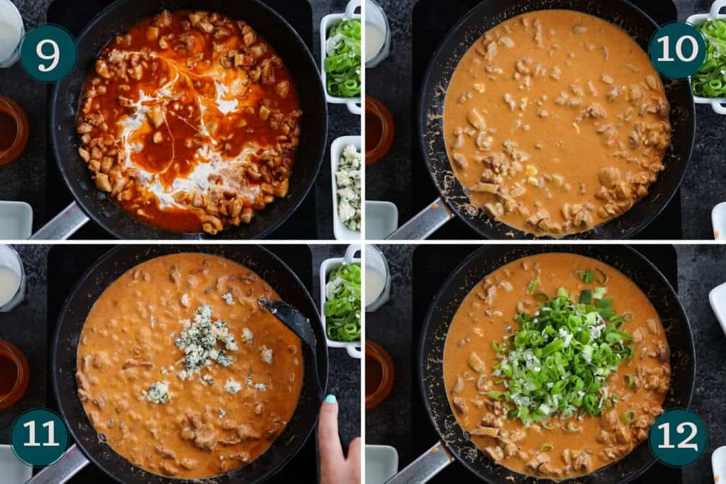 process collage showing how to add cream, blue cheese and green spring onion to buffalo chicken sauce