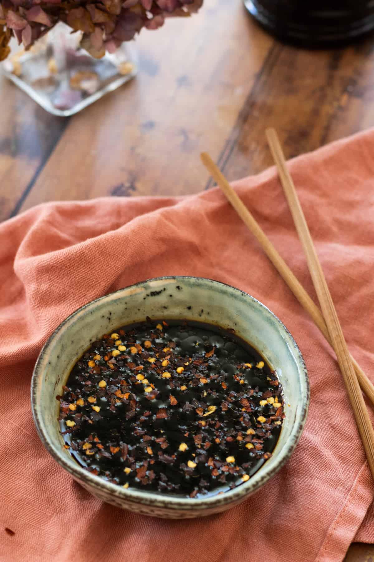 gyoza dipping sauce in a bowl