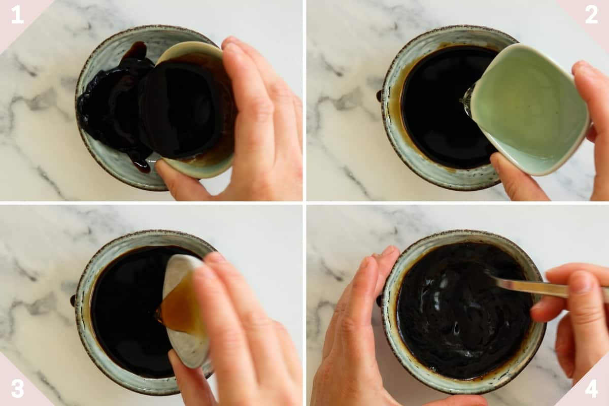 collage showing how to make gyoza dipping sauce